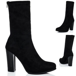Womens Sock Fitted Block Heel Ankle Boots Shoes Sz 3-8
