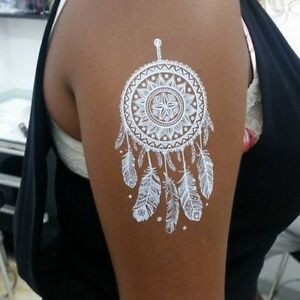 8df9083d0 Image is loading White-Temporary-Henna-Dream-Catcher-FakeTattoos-Body-Hand-