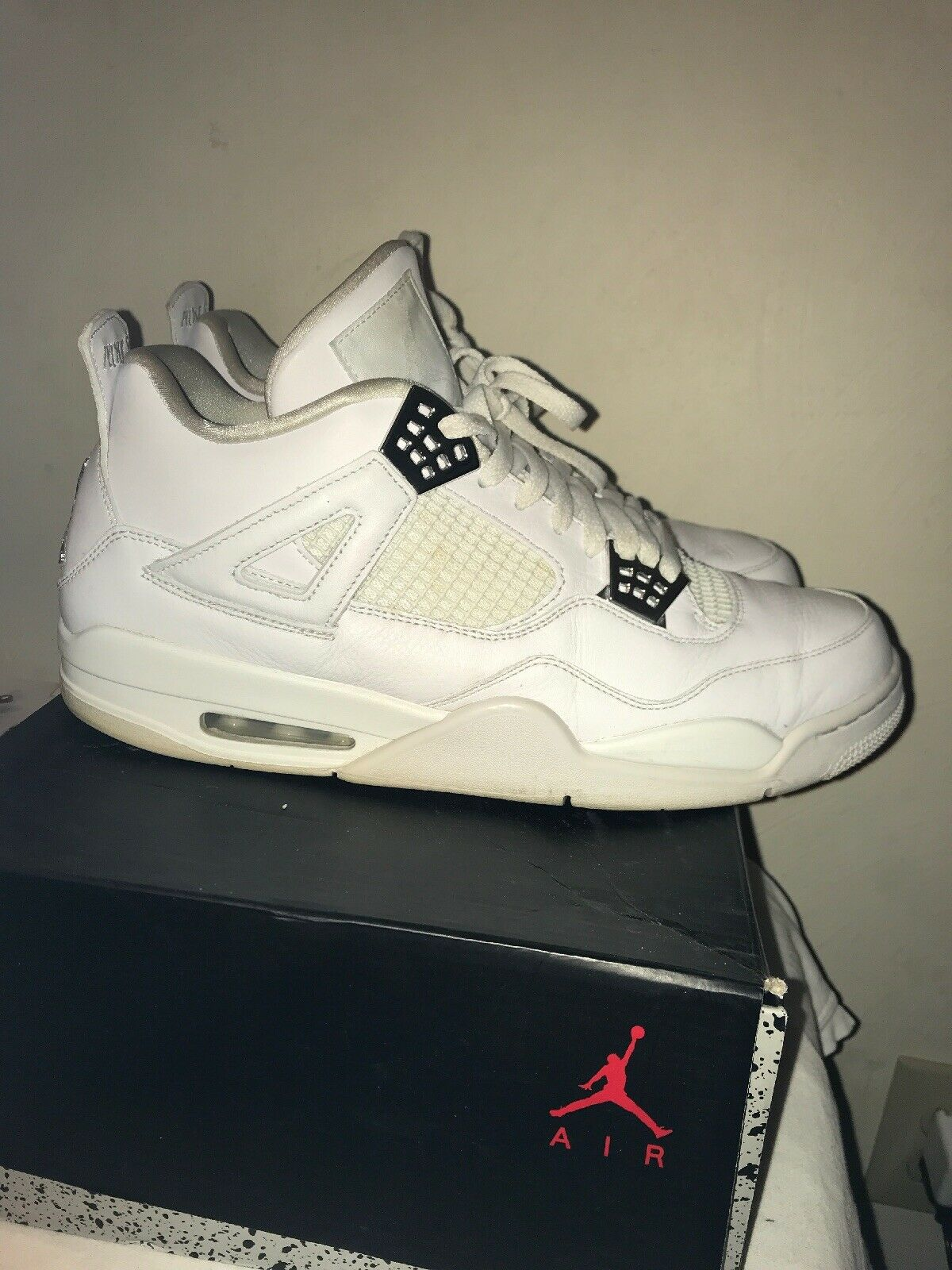Nike Air Jordan 4 IV Retro Pure Money All White Silver 308497-100 Size 13