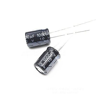 50pcs 8 x 12mm Cylindrical Radial Lead Electrolytic Capacitor 105C 1000uF 10V