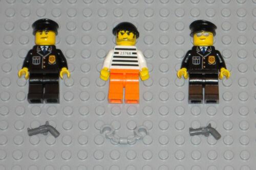 LEGO minifigures lot 2 Policemen 1 Criminal Police Guys Minifigs City Toys Guns