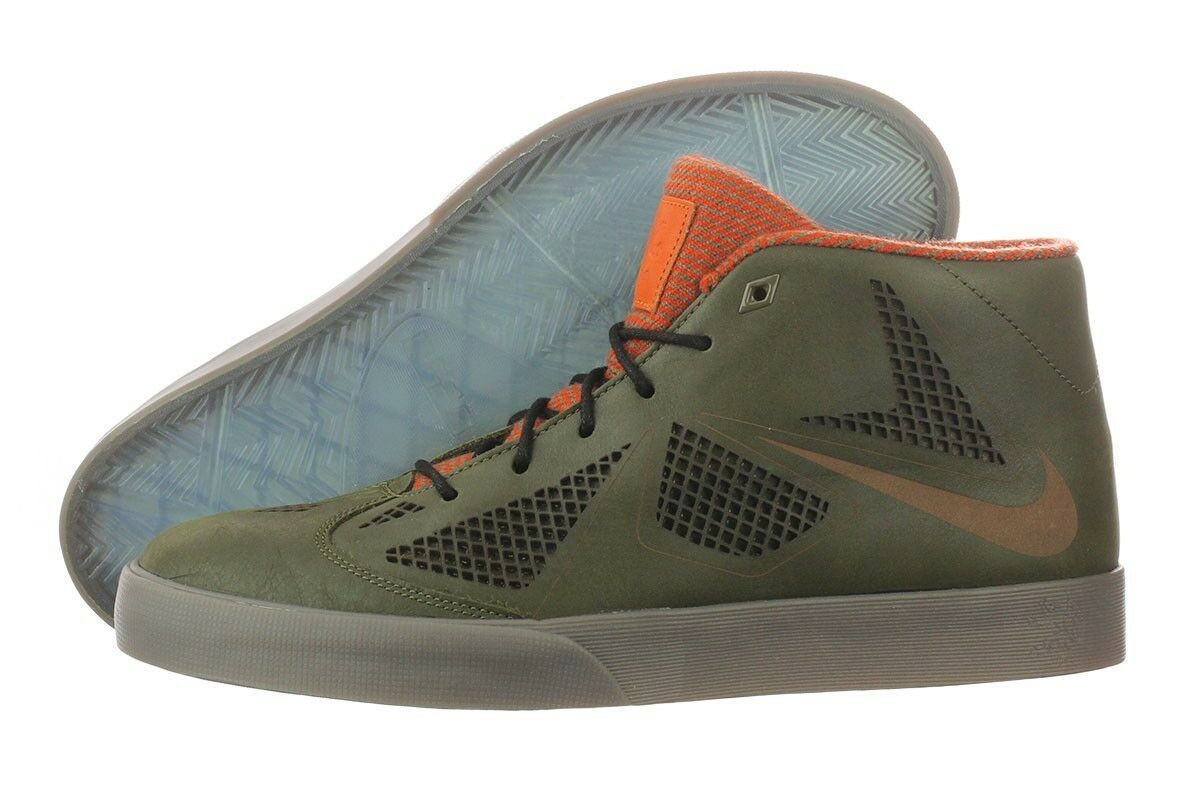 Nike Lebron X NSW Lifestyle Dark Loden Brown Orng Men's Basketball shoes Size 9.5