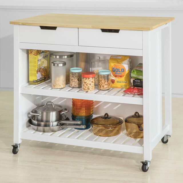 SoBuy White Wood Kitchen Trolley Storage Cupboard Bar