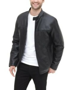 DKNY-Classic-Faux-Leather-Stand-Collar-Racer-Jacket-Mens-Medium-Black-195