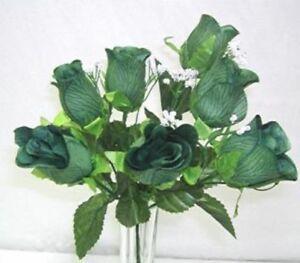 84 hunter green roses bud wedding bouquet silk flowers ebay image is loading 84 hunter green roses bud wedding bouquet silk mightylinksfo