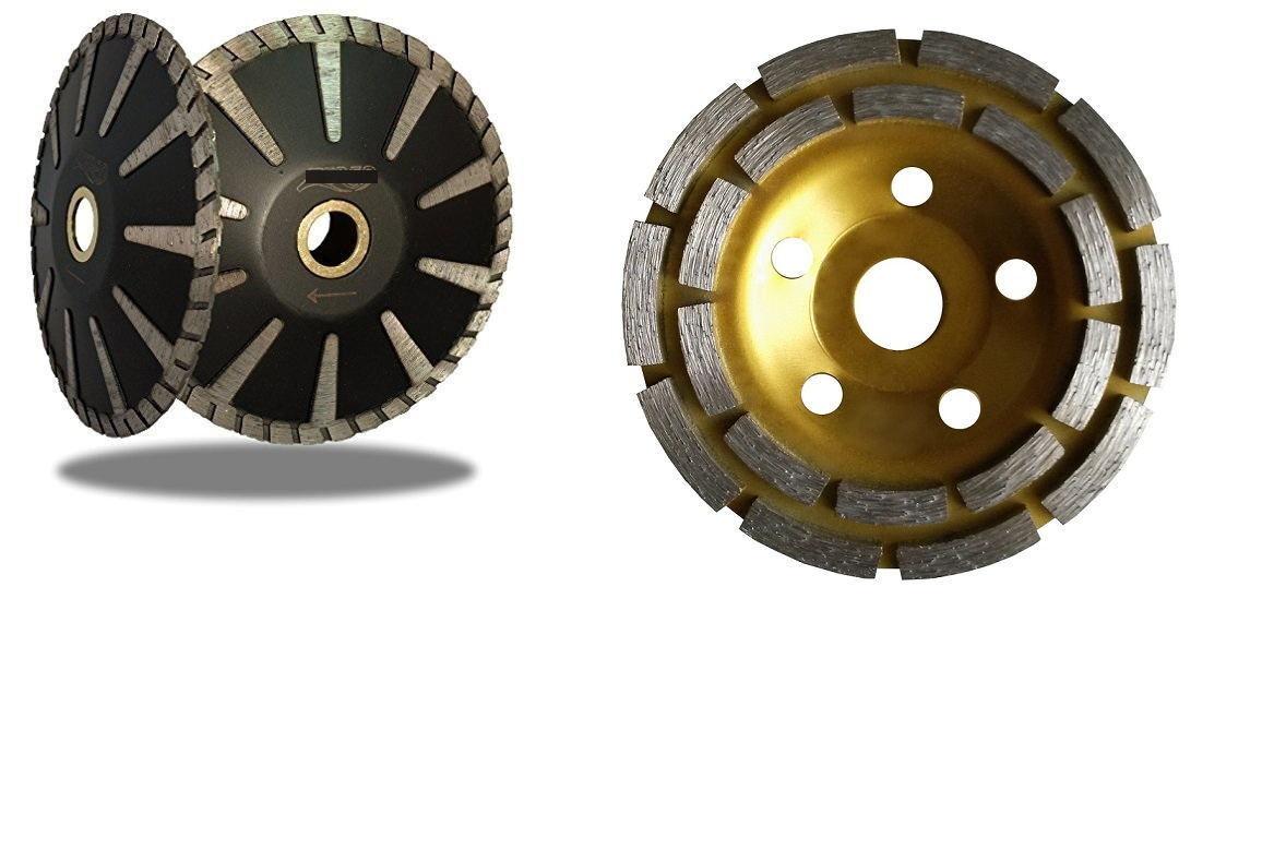 4 PCS Diamond Grinding Cup Wheel 2 PCS 5  Convex curved Blade Concrete Granite