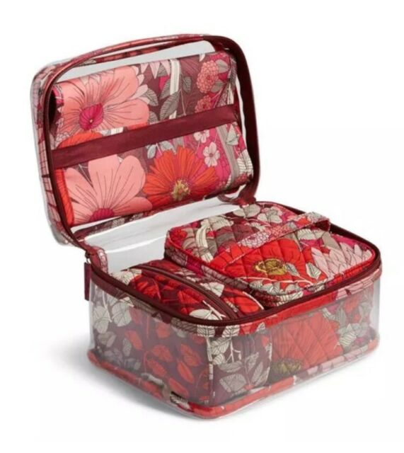 NWT Vera Bradley Travel Organizer 4 Pc Set Bohemian Blooms Cosmetic Makeup  Case cf8de5bbc8