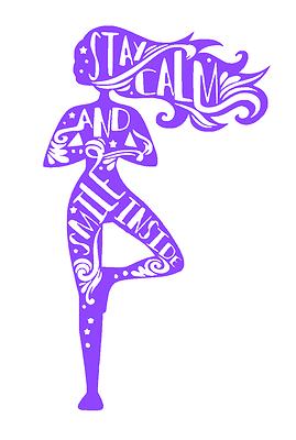 Yoga Girl Resta Calmo Smile Adesivo Yoga Pilates Fitness Salute Benessere Ebay
