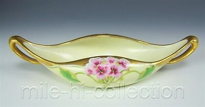 STOUFFER LIMOGES FRANCE HAND PAINTED GERANIUMS CELERY TRAY