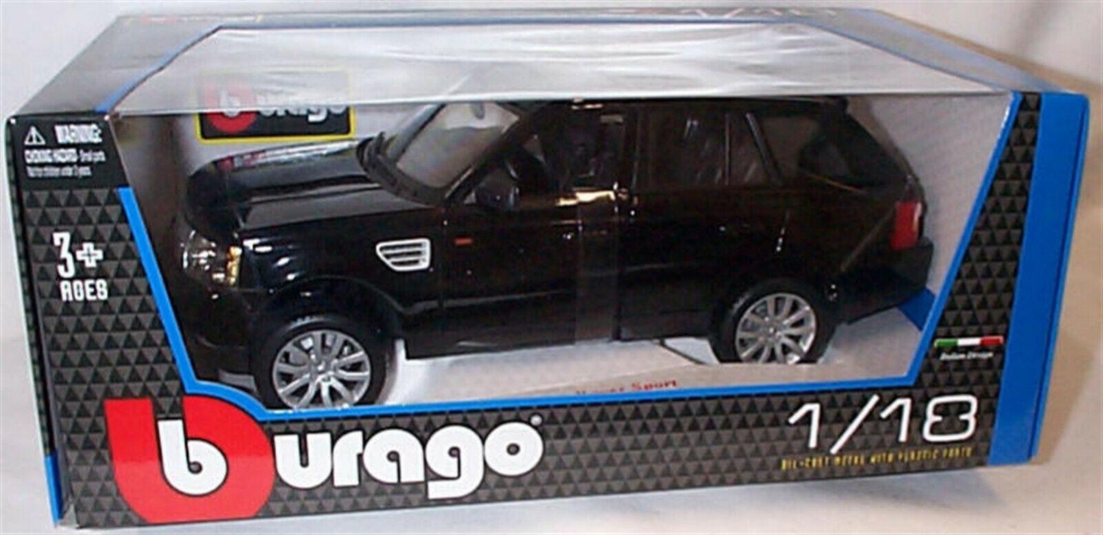 RANGE Rover Sport Nero - 1 18 SCALA DIECAST AUTO BURAGO NUOVO IN SCATOLA