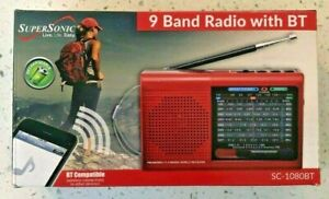 Supersonic SC-1080BT Rechargeable 9-Band AM//FM//SW1-7 Radio USB//SD Bluetooth