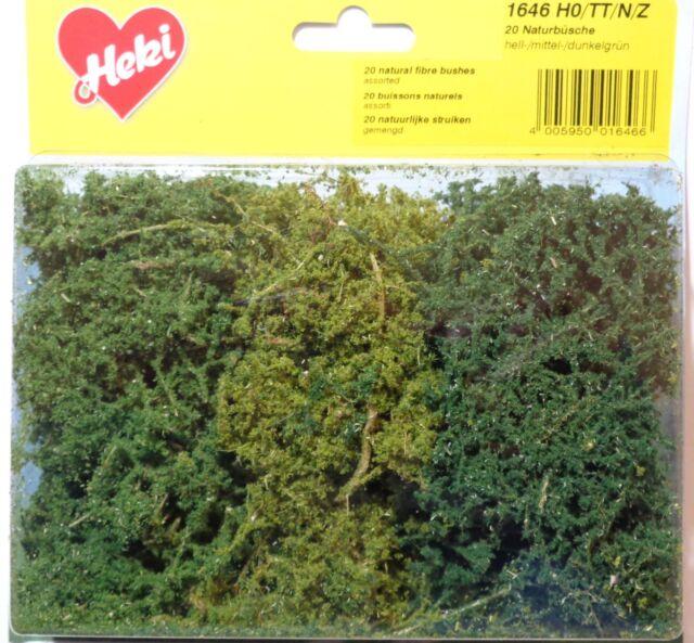 Heki 1646 Naturbüsche 20 Stück hell- mittel- dunkelgrün Spur H0 TT N Z