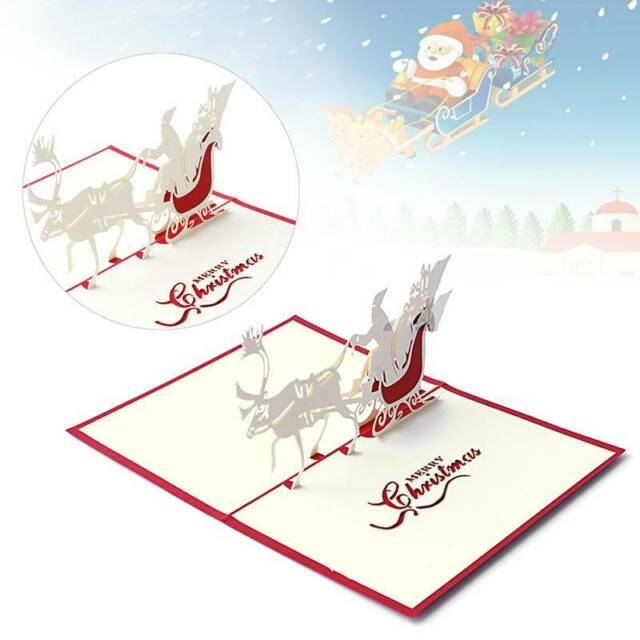 3d Pop Up Santas Sleigh Greeting Card Merry Christmas Wedding Postcard Gift Craft Paper 10*15cm Jewelry & Watches Bands Without Stones