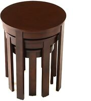 Bianco Collection 3-piece Espresso Round Nesting Table Set