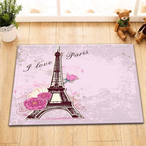 "Roses Eiffel Tower Waterproof Fabric Bathroom Shower Curtain Hook Mat Set 60//72/"""