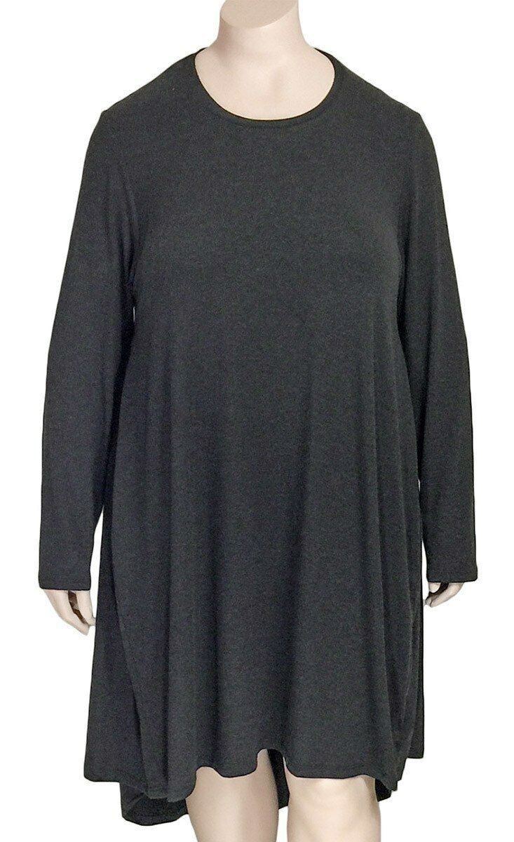 GERSHON BRAM A-Line Viscose Jersey Tunic Dress Large Charcoal NWT US L = 12   14
