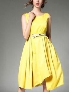 on sale b19d6 cd5a7 Dettagli su Elegante raffinato vestito abito corto manica lunga giallo  cintura slim 3677