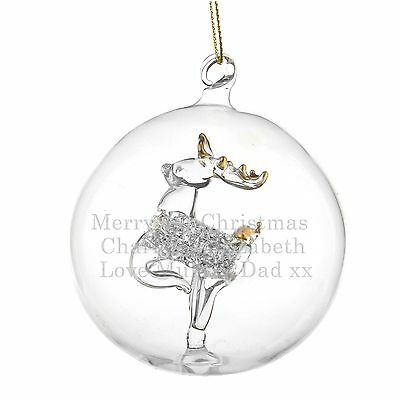 Personalised Handmade Glass Reindeer Bauble, Seconds Stock, Christmas Decoration