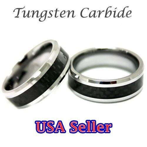 New Item Tungsten Carbide Ring Chrome w//Carbon Fiber Wedding Band Mens Jewelry