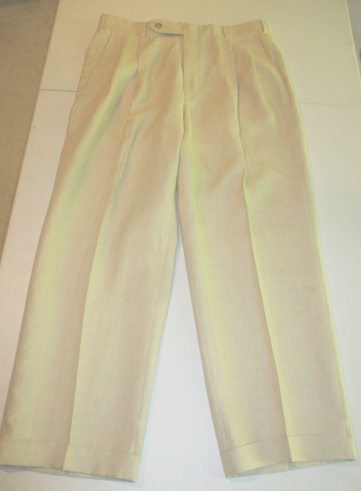 New With TagsBrooks Bredhers Beige Linen Pleated Front Trousers Size 34 28.5
