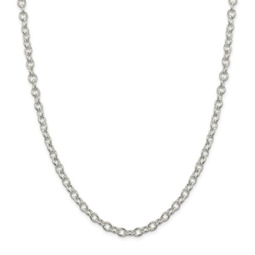 Sterling Silver 16in 5.75mm Oval cable Necklace Chain Metal Wt-15.3g