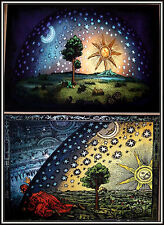 2 Flat Earth Prints  - Firmament Dome Art + Flammarion Engraving 1888 (a3 size)
