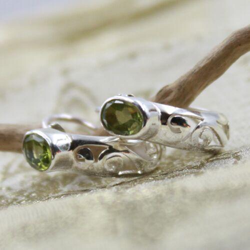 Peridot Ohrringe Creolen Silber 925 Ohrhänger 35mm Grün Cutstone 5mm filigran