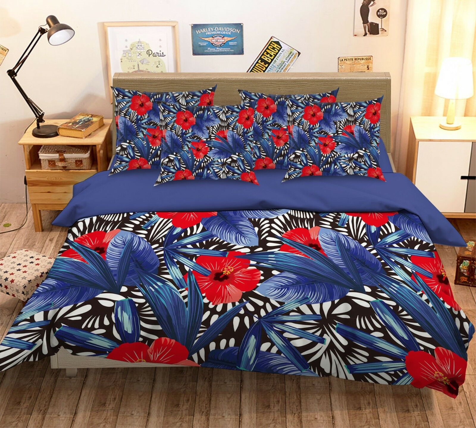 3D Flower Leaf 675 Bett Pillowcases Quilt Duvet Startseite Set Single Königin König AU
