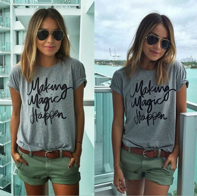 Fashion Women Summer Letter Print Short Sleeve T-Shirt Loose Casual Tops Blouse