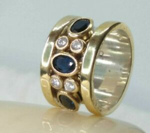 AAA-QUALITY-STERLING-925SILVER-HANDCRAFT-JEWELRY-CEYLON-BLUE-SAPPHIRE-BAND-RING