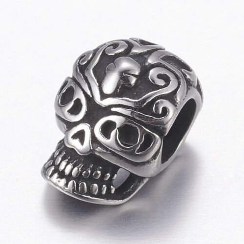 10pcs Antique Silver 304 Stainless Steel European Large Hole Skull Beads 12x8mm