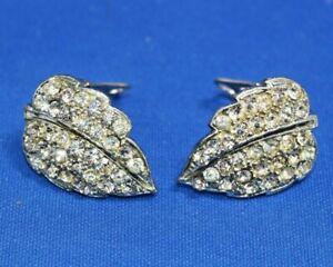 Vintage Silver tone Diamante Clear Sparkle Stones Clip On Earrings Leaf Shape