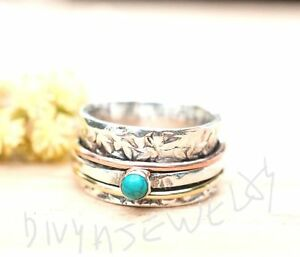 Turquoise-Solid-925-Sterling-Silver-Spinner-Ring-Meditation-statement-Ring-sr213