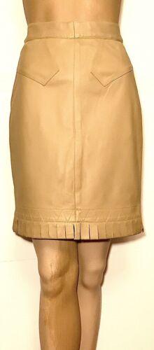 VNTG. ALAIA PARIS SZ.42 Nude Fringe Leather Skirt
