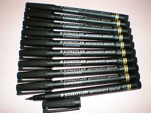 10x-STAEDTLER-Feutre-resistant-319-S-9-Lumocolor-permanent-special-noir-NEUF