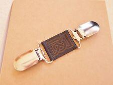 Lagenlook clothes dress brace silver / bronze clip black celtic engraved leather