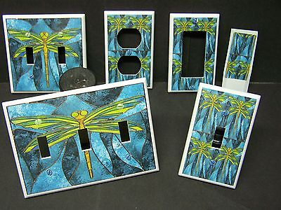 STAINED GLASS DRAGONFLY IMAGE  #1   LIGHT SWITCH COVERS PLATE AND OUTLETS