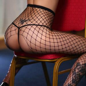 Collant-Filet-Ouvert-Noir-Sexy-Grandes-Resilles-Taille-Unique-S-M-L-XL-NEUF