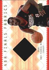 2001-02 Upper Deck NBA Finals Fabrics 76ers Basketball Card #AMF Aaron McKie Jsy