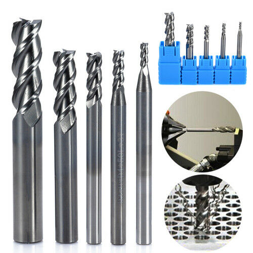 5pcs 3 Flute HRC50 Solid Tungsten Carbide End Mill Cutter 2-8mm CNC Aluminum