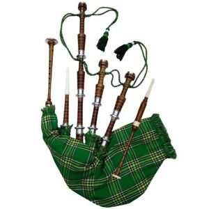 Full-Size-Bagpipe-Rosewod-Natural-Silver-Mounts-Green-Cover-Republic-of-Ireland