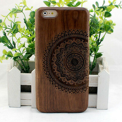 """Mandala Sun Natural Walnut Wood Wooden Hard Case Cover for iPhone 6 / 6S (4.7"""")"""