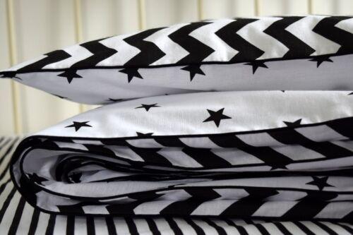 MONOCHROME COTTON Cot Bed Duvet Cover Set Boys BLACK  Stars Chevron BUMPER