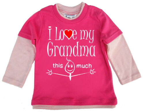 "Baby Skater Top /""me encanta mi abuela esta camiseta de manga larga mucho/"" abuela"