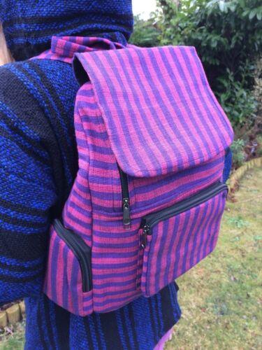 Rucksack Bag Hippy Boho Festival Unisex Black Purple Rainbow Stripe Backpack