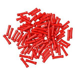 100 Wire Butt Connectors Red Vinyl 22-18 Gauge AWG Ga Car Radio Terminals New