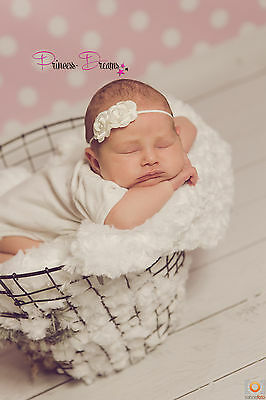 Intellektuell Neugeborenen Baby Mädchen Stirnband Blume 79a Haarband Kopfband Taufe Fotografie
