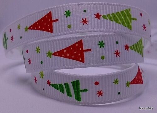 "Christmas Ribbon 2m  3//8/"" Finest Selection of Grosgrain Organza /& Satin Ribbon"