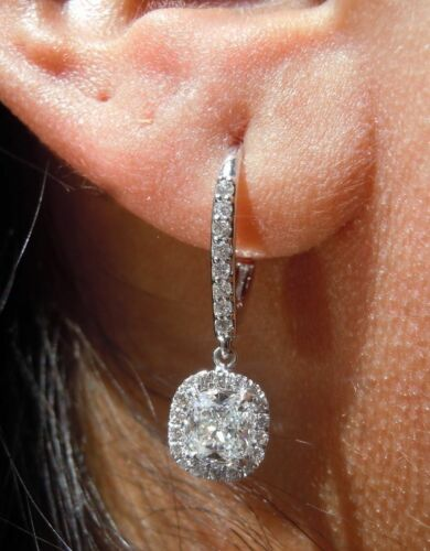 2.50Ctw Cushion-Cut /& Round Diamond Drop and Dangle Earrings 14k White Gold Over