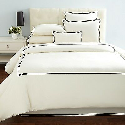 New Hudson Park Collection Twin Comforter Cover Percale Ivory w//Black Embroidery